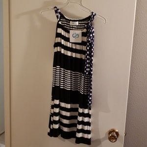 Black and white striped summer dress.